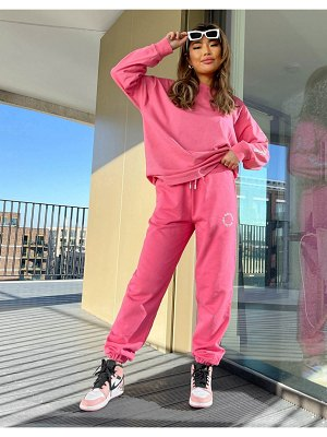 ASOS Weekend Collective oversized sweatpants with logo in raspberry-grey