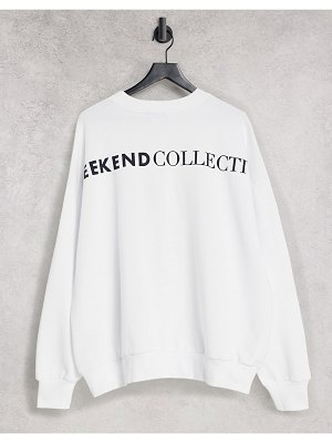 ASOS Weekend Collective oversized sweatshirt with back logo in white