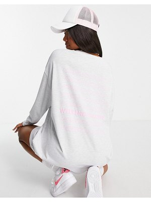 ASOS Weekend Collective oversized t-shirt dress with long sleeve and stacked logo in ice heather-grey