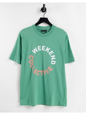 ASOS Weekend Collective oversized t-shirt with colored logo in khaki-green