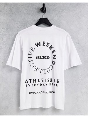 ASOS Weekend Collective oversized t-shirt with large stacked back graphic in white