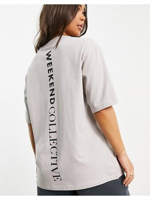 ASOS Weekend Collective oversized t-shirt with vertical logo in beige-neutral
