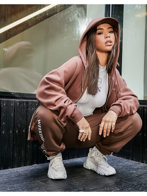 ASOS Weekend Collective oversized zip through hoodie with logo in brown
