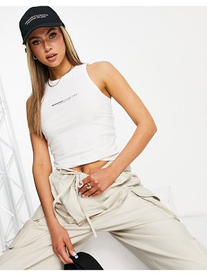ASOS Weekend Collective sleeveless tank in rib with logo in white
