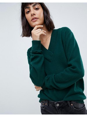 ASOS White 100% cashmere sweater with v-neck