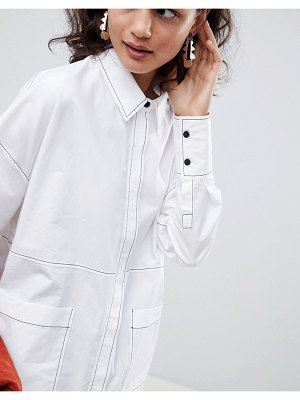 ASOS White ASOS WHITE oversized shirt with contrast stitching