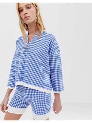 ASOS White check knitted sweater two-piece