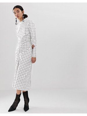 ASOS White grid print dress with ruched front detail