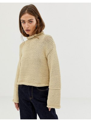 ASOS White knitted sweater with wide sleeve detail