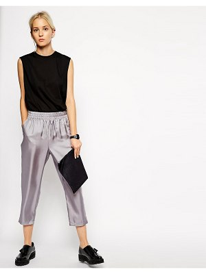 ASOS White silk pull on tapered pant