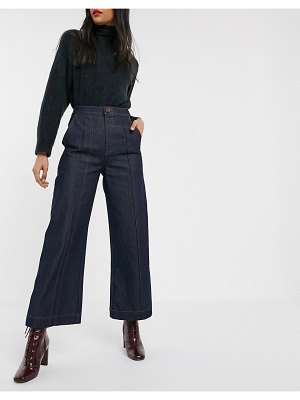 ASOS White wide leg jeans with stitch detail-blue