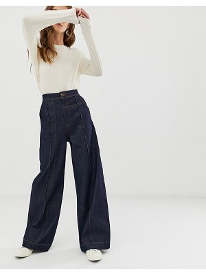 ASOS White wide leg jeans with stitch detail