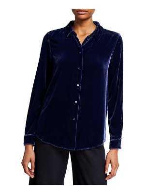 Aspesi Velvet Button-Front Long-Sleeve Shirt