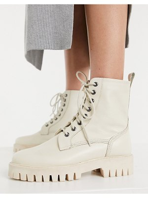 ASRA billie lace up flat boots with stich detail in beige leather drench-neutral