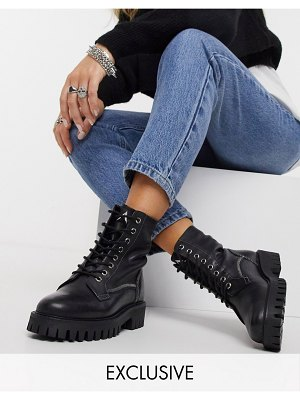 ASRA exclusive billie lace-up flat boots with stitch detail in black leather