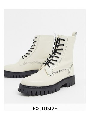 ASRA exclusive billie lace-up flat boots with stitch detail in bone leather-white