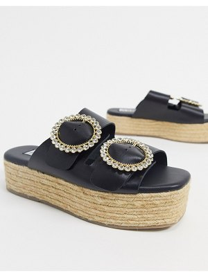 ASRA exclusive emerald slides with statement buckles in black leather
