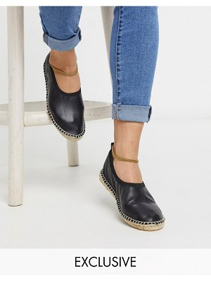 ASRA exclusive esme espadrilles in soft black leather with anklet