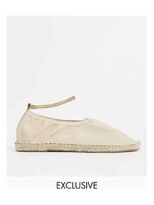 ASRA exclusive esme espadrilles in soft bone leather with anklet-beige
