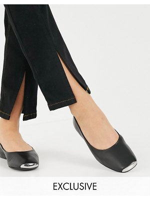 ASRA exclusive fleur flat shoes with toe cap in black leather