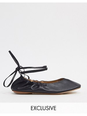 ASRA exclusive fliss ballerina with ankle ties in black soft leather