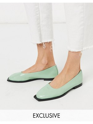 ASRA exclusive frankie flat shoes with squared toe in mint leather-green