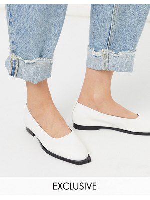 ASRA exclusive frankie flat shoes with squared toe in white leather