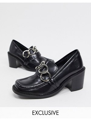 ASRA exclusive glaze heeled loafers with metal trim in black leather