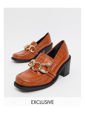 ASRA exclusive glaze heeled loafers with metal trim in tan leather