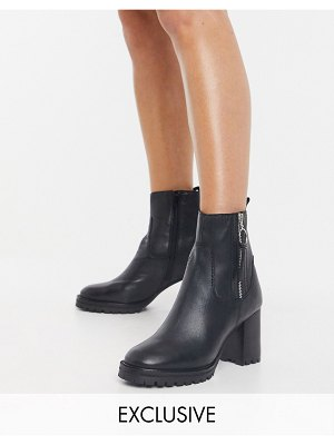 ASRA exclusive hattie chunky heeled ankle boots in black leather