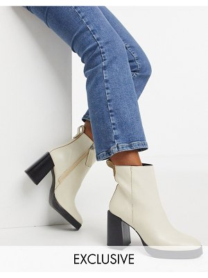 ASRA exclusive herington heeled boots in bone leather-white