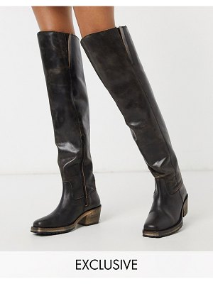 ASRA exclusive kaydn over the knee boots in black distressed leather