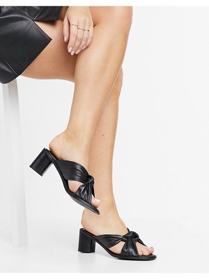 ASRA jenna twist front heeled mules in black leather
