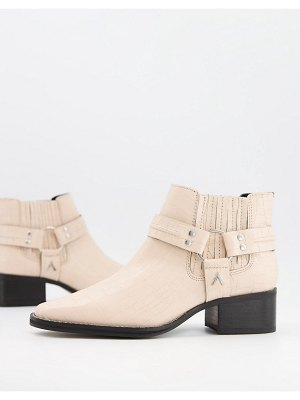 ASRA mariana boots with harness detail in croc embossed bone leather-white