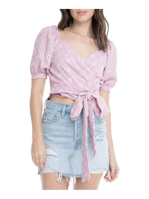 ASTR the Label dina puff sleeve tie waist cropped top