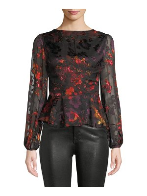 ASTR the Label Gianna Floral Long-Sleeve Peplum Top