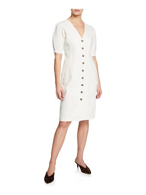 ASTR the Label Logan Button-Front Short-Sleeve Dress