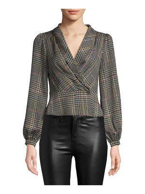 ASTR the Label Renee Plaid Long-Sleeve Cropped Blouse