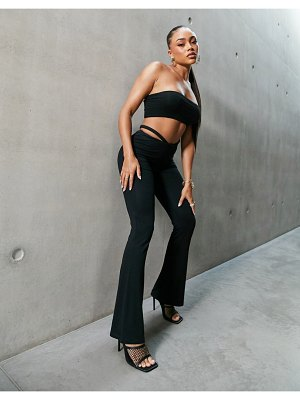 AsYou low rise skinny flare pant with cut out hip strap detail in black