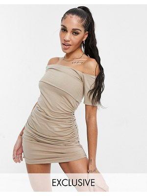 AsYou off-the-shoulder ruched mini dress in taupe-beige