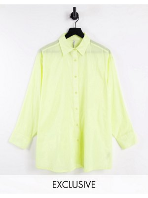 AsYou oversized voille shirt in lemon-yellow
