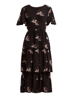 Athena Procopiou Three-tier floral-print dress