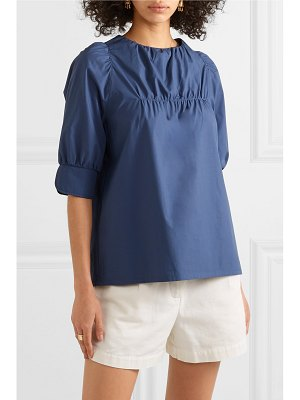 Atlantique Ascoli ruched cotton-poplin blouse