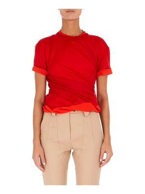 Atlein High-Neck Short-Sleeve Twisted Jersey Top