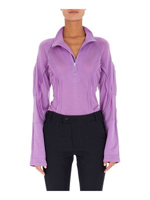 Atlein Long-Sleeve Partial-Zip Sweatshirt with Seaming Details