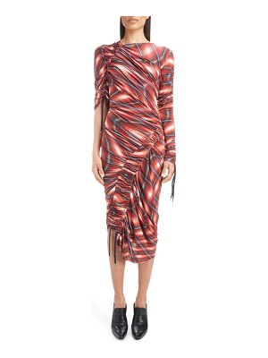 Atlein wave plaid ruched dress
