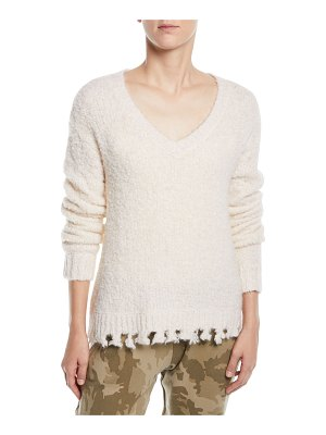 ATM Anthony Thomas Melillo Alpaca-Blend Destroyed V-Neck Sweater