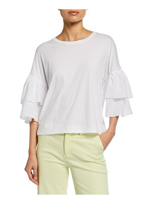 ATM Anthony Thomas Melillo Mix Media Crewneck Tiered Ruffle-Sleeve Cotton Top