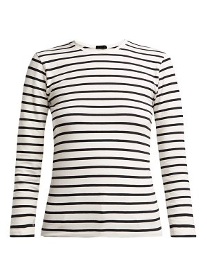 ATM Atm - Striped Long Sleeve Cotton Blend Top