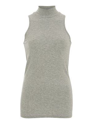 ATM micro-modal wide rib sleeveless mock neck top